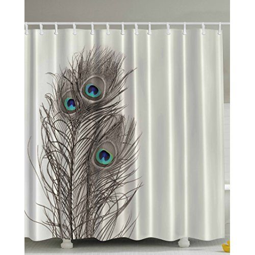 Unique Custom Fashionable Design Peacock Feather Waterproof Polyester Fabric Shower Curtain 60X72 Bathroom Decor