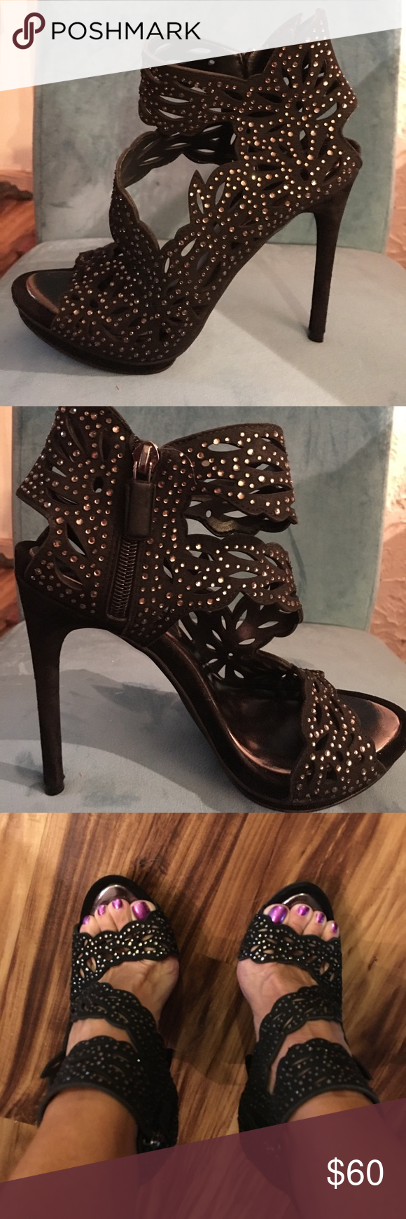 """BCBG Maxazaria sparkly heels! Stunning and sparkly with beautiful detail! Side zip...5-5 1/2"""" heel with 1/2 """" platform under ball of foot. Very sexy BCBGMaxAzria Shoes Heels"""