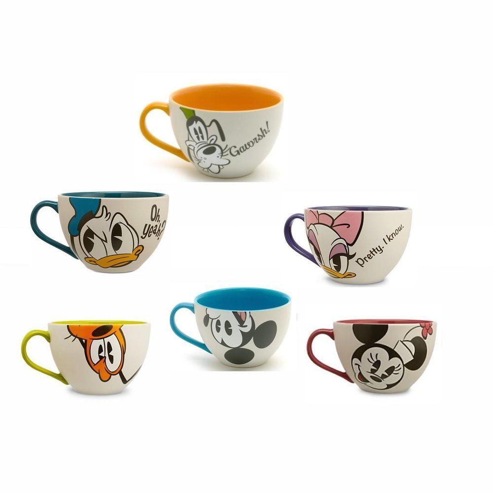 Disney Kaboo Mug Set Of 6 Mickey Minnie Pluto Donald Daisy Goofy