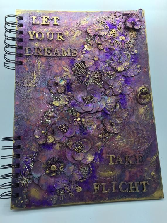 Items similar to Mixed media art journal Purple and gold on Etsy #artjournalmixedmediainspiration
