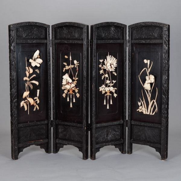 Mother Of Pearl Inlay Wooden Mini Folding Screen Asian: Small Scavo Style Murano Glass Urn Form Vase