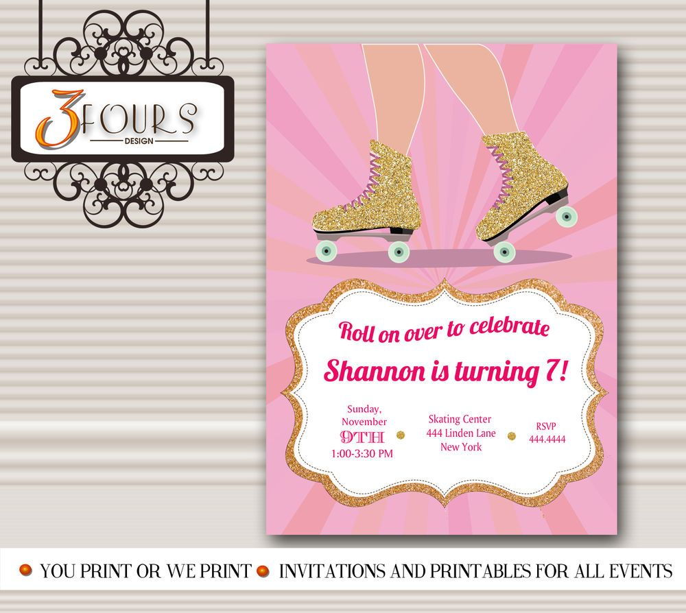 Roller Skate Party Invitations Printable , Pink and Gold Birthday ...