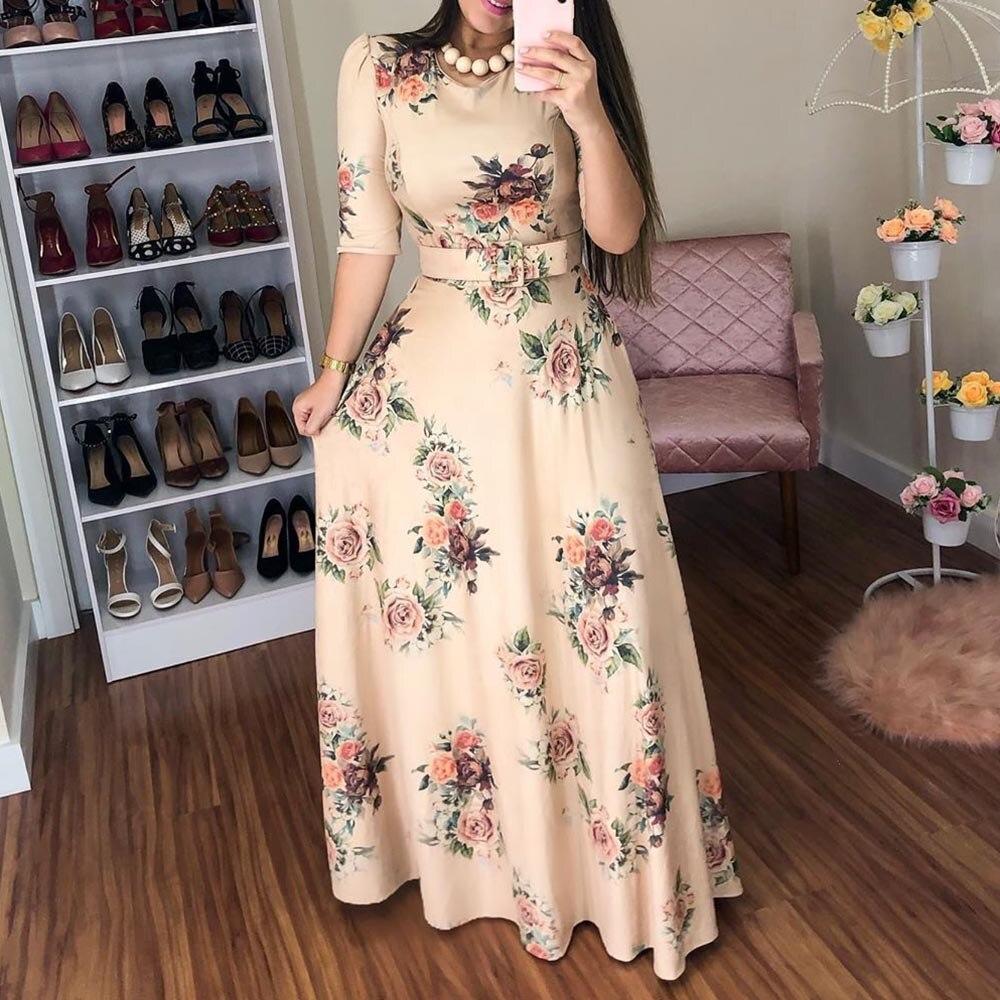 Casual Half Sleeve Long Dress Boho Floral Print Maxi Dress Elegant Dress Sale Woclothes Com Woclothes Com Womens Floral Dress Floral Print Maxi Dress Womens Maxi Dresses [ 1000 x 1000 Pixel ]