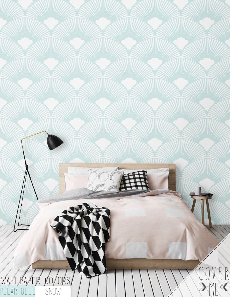 scallop geometric pattern wallpaper simple removable. Black Bedroom Furniture Sets. Home Design Ideas