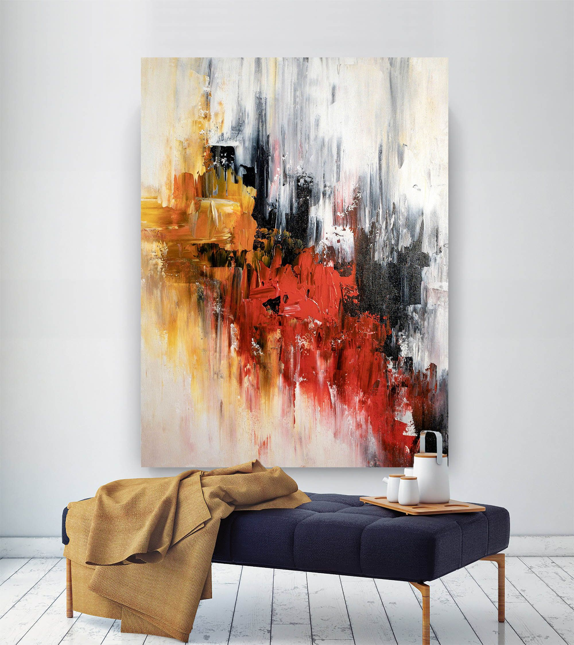 Photo of Large Abstract Painting,Modern abstract painting,bright painting art,painting on canvas,abstract painting,abstract texture art BNc001