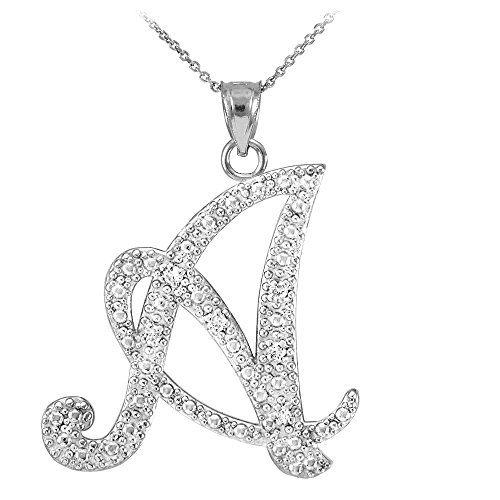 14k white gold diamond script initial letter a pendant necklace 0 gold letter script a diamond initial pendant necklace mozeypictures Image collections