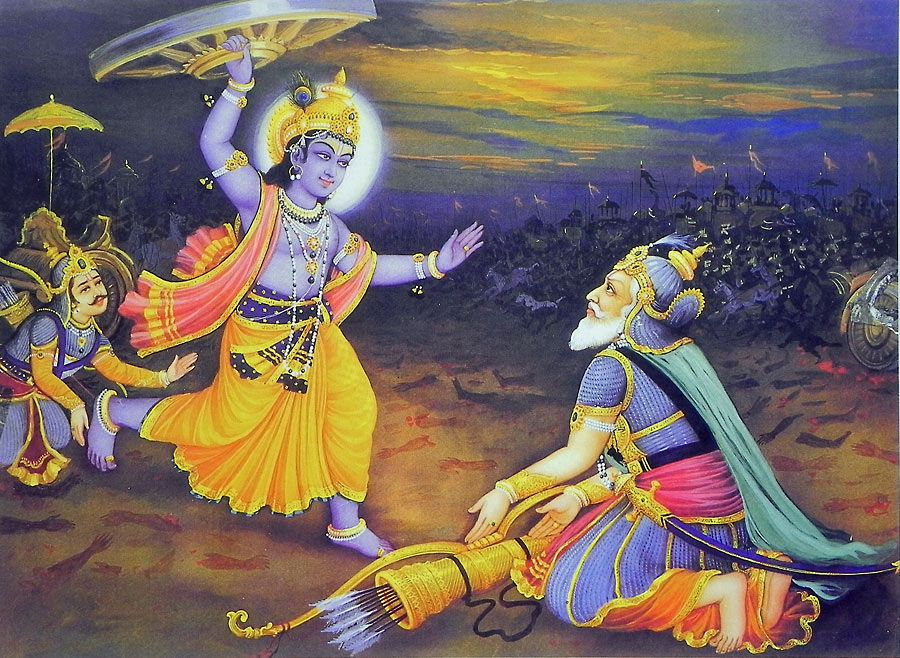 Krishna Lifts Chariot Wheel To Kill Bhishma Vedic Art Krishna Wallpaper Lord Krishna Wallpapers