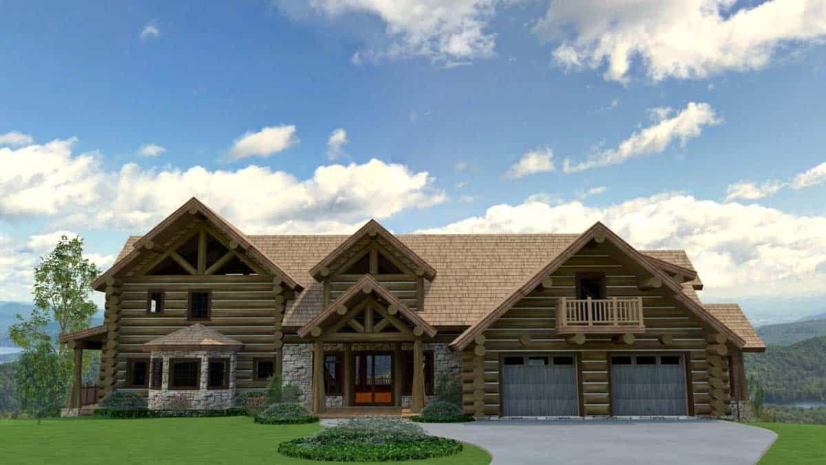 Luxury Log Home Design Style 5500 Sq Ft Log Home Floor Plan In 2020 Log Home Designs Log Cabin Exterior Log Home Floor Plans