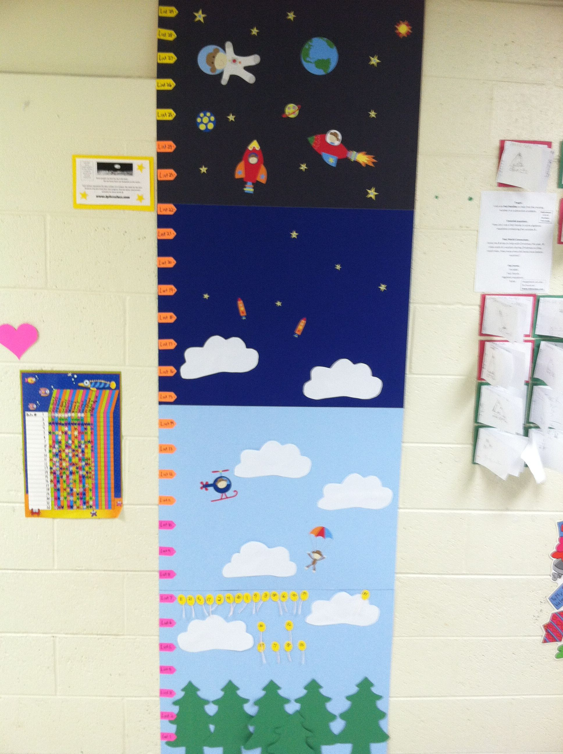 Sight Word Progress Monitoring Chart Student Balloons Have Their Data Number Written On Them