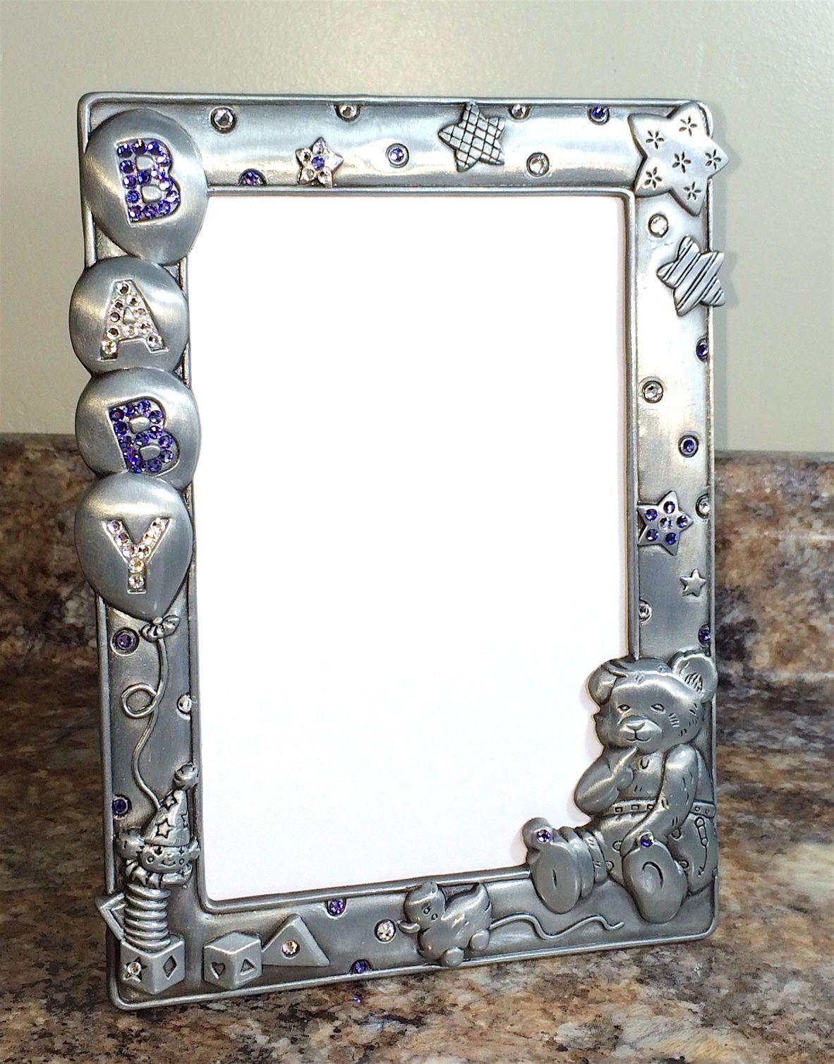 Baby Picture Photo Frame Pewter + Swarovski Crystals Purple **Hand ...