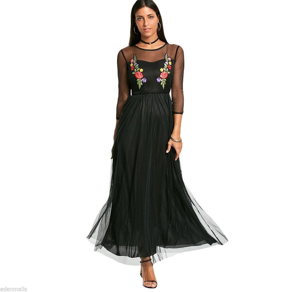 Cool amazing women long sleeve flower embroidery maxi yarn dress