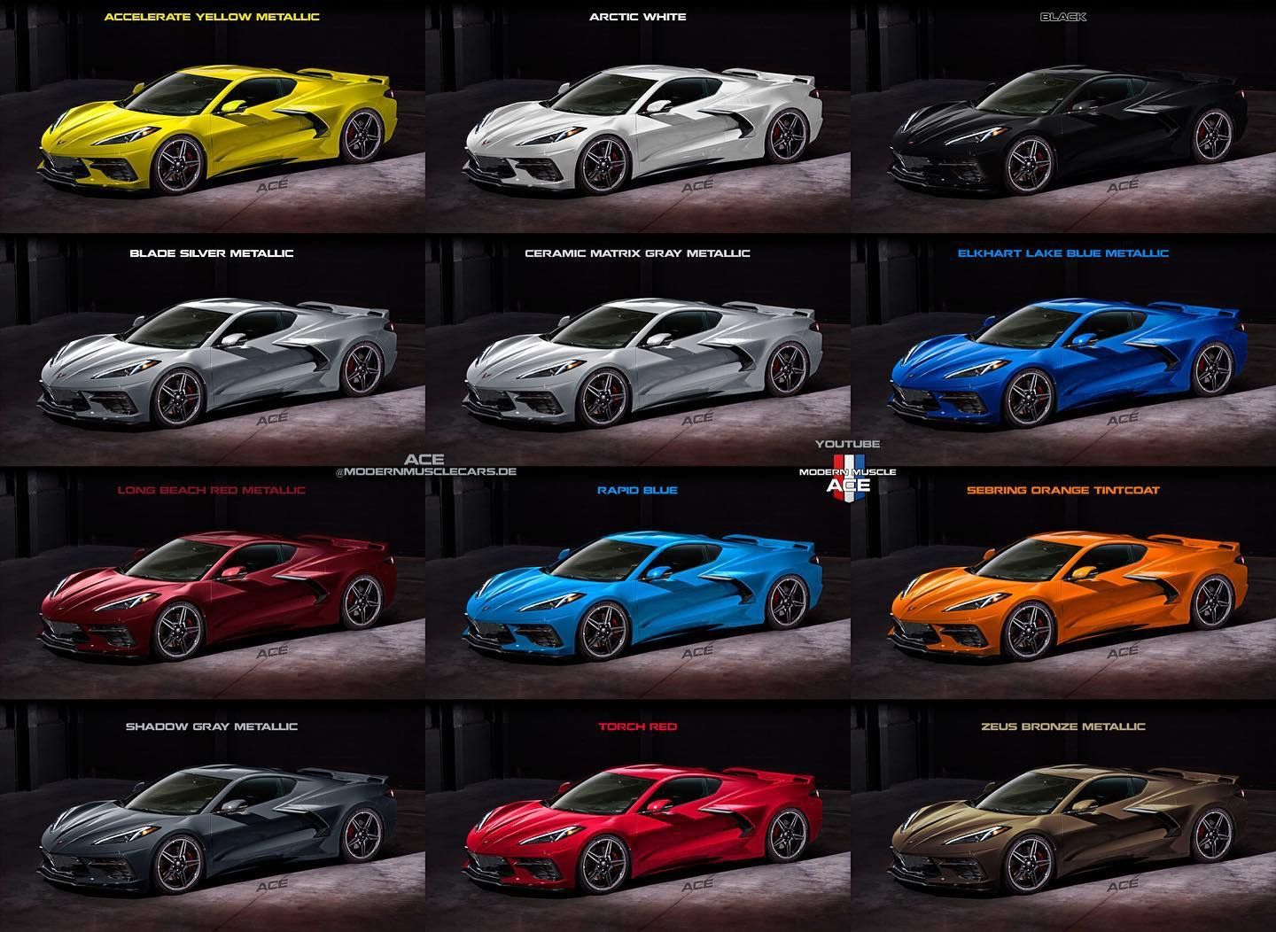 Color Options On The New C8 Corvette Corvette Corvette History