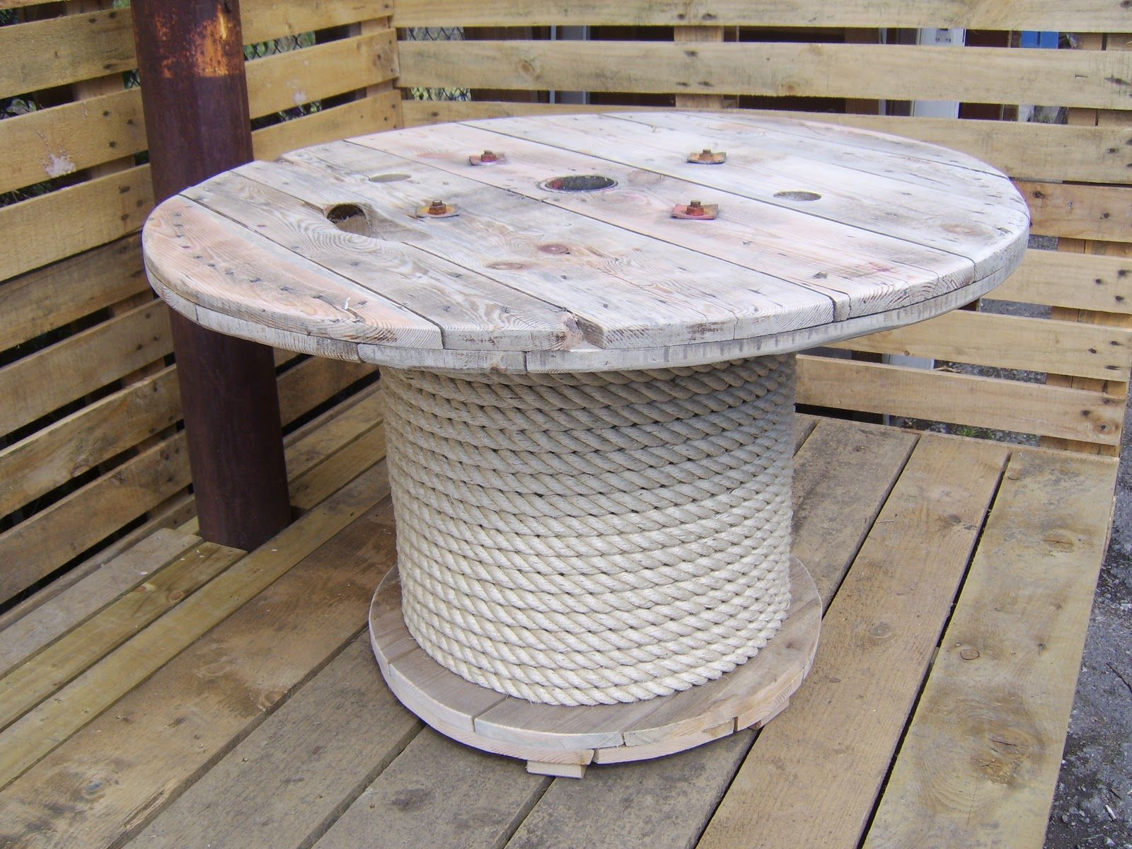 Table made from wooden cable reel spool idea cut bottom for Wooden cable reel ideas