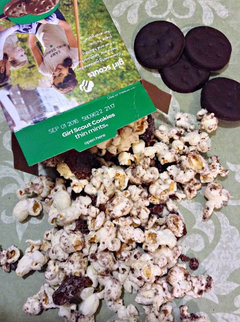 Girl Scouts Thin Mints Cookie Popcorn Munch ready to snack on!
