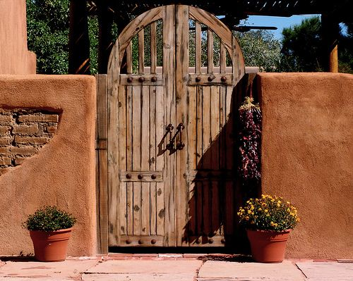 Another Adobe Wall With Rustic Gate Chili Ristra Just For