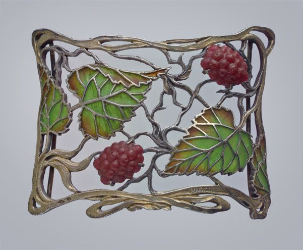 JANVIER QUERCIA Art Nouveau plaque-de-cou Can also be worn as a brooch  Partly Gilded Silver Plique-à-jour Glass H: 5.5 cm (2.17 in)  W: 7 cm (2.76 in)  Marks: Makers mark: 'JQ' with an oak leaf French, c.1900 Fitted Case Clever removable brooch fitting Literature: Art Nouveau Jewelry, Joseph Sataloff, 1984, p. 108 Collections include: The British Museum Ref: 7332