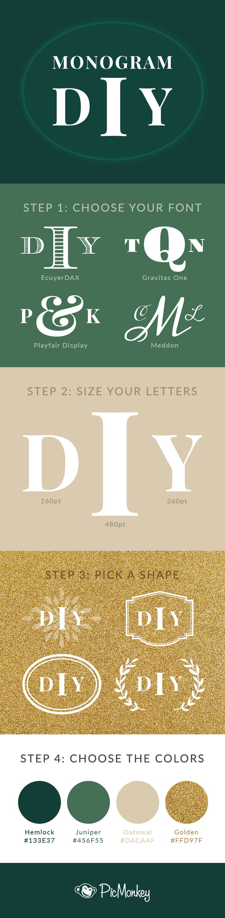 PicMonkey Monogram Maker Diy Monogram Ephemera And Cards - Place card maker