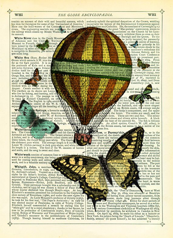 Hot Air Balloon with Butterflies Vintage Encyclopaedia
