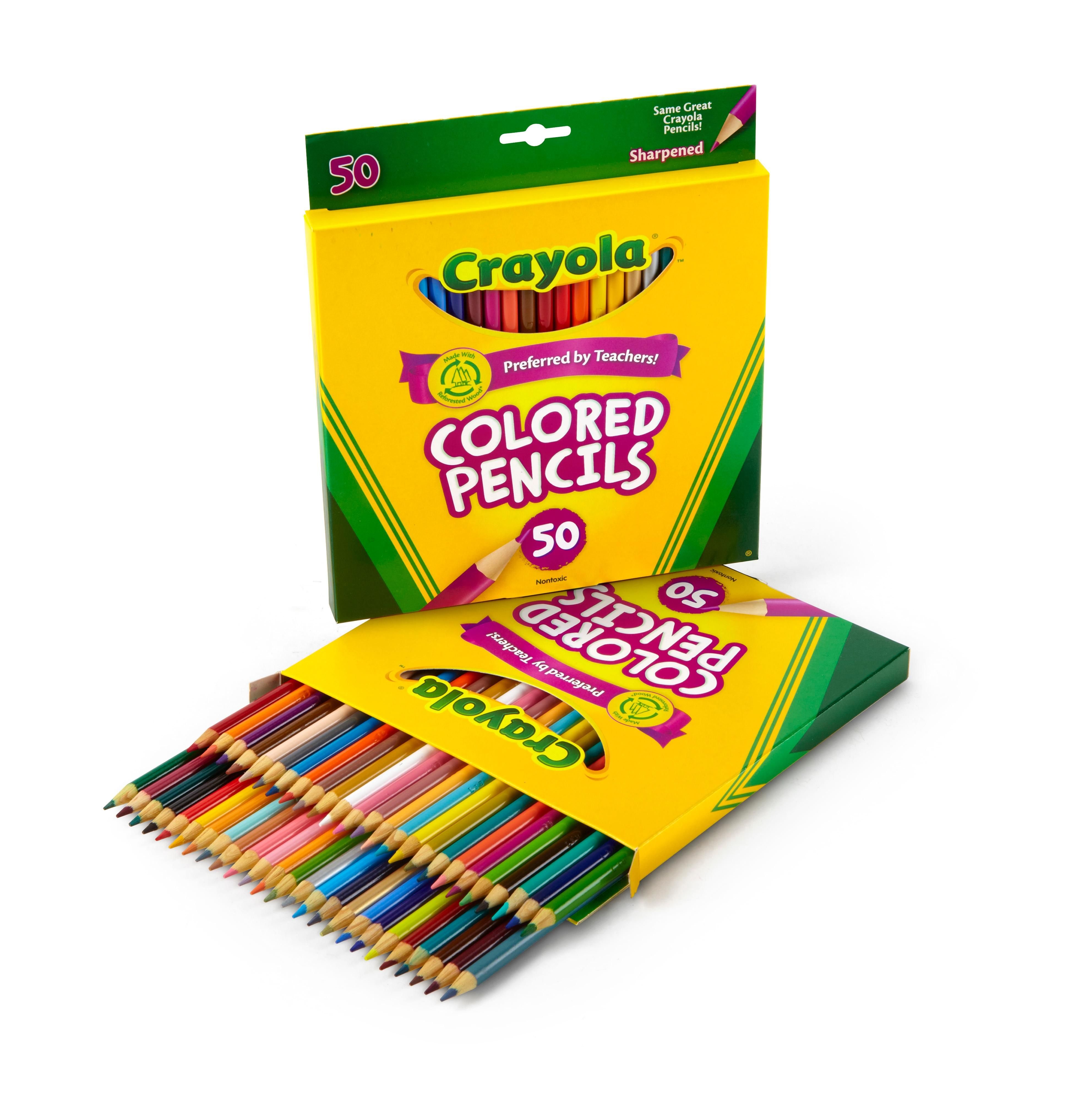 Amazon Com Crayola 50 Count Colored Pencils 2 Pack Toys