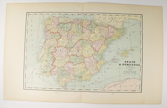 Antique spain map vintage map portugal 1888 old world map gift for antique spain map vintage map portugal 1888 old world map gift for traveler vintage spain map spanish decor gift for teacher available from gumiabroncs Choice Image