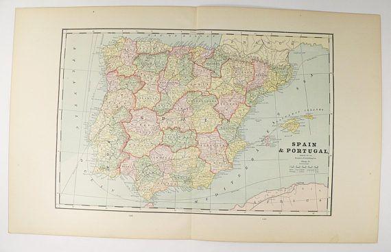 Antique spain map vintage map portugal 1888 old world map gift for antique spain map vintage map portugal 1888 old world map gift for traveler vintage gumiabroncs Images