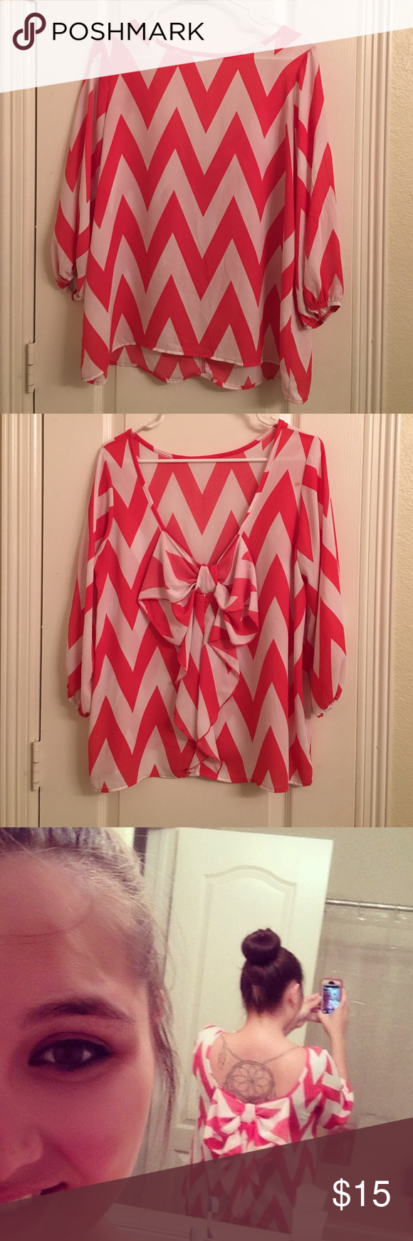 Boutique hi low blouse with bow on back Coral and white chevron blouse. Front is a little higher then the back. Back swoops down and has a cute bow Tops Blouses
