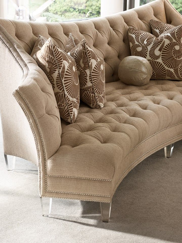 Lucite As Shown On The Legs Of Marge Carson Deville Sofa And Deep Tufting Are Both Hallmarks New Gorgeous Glam