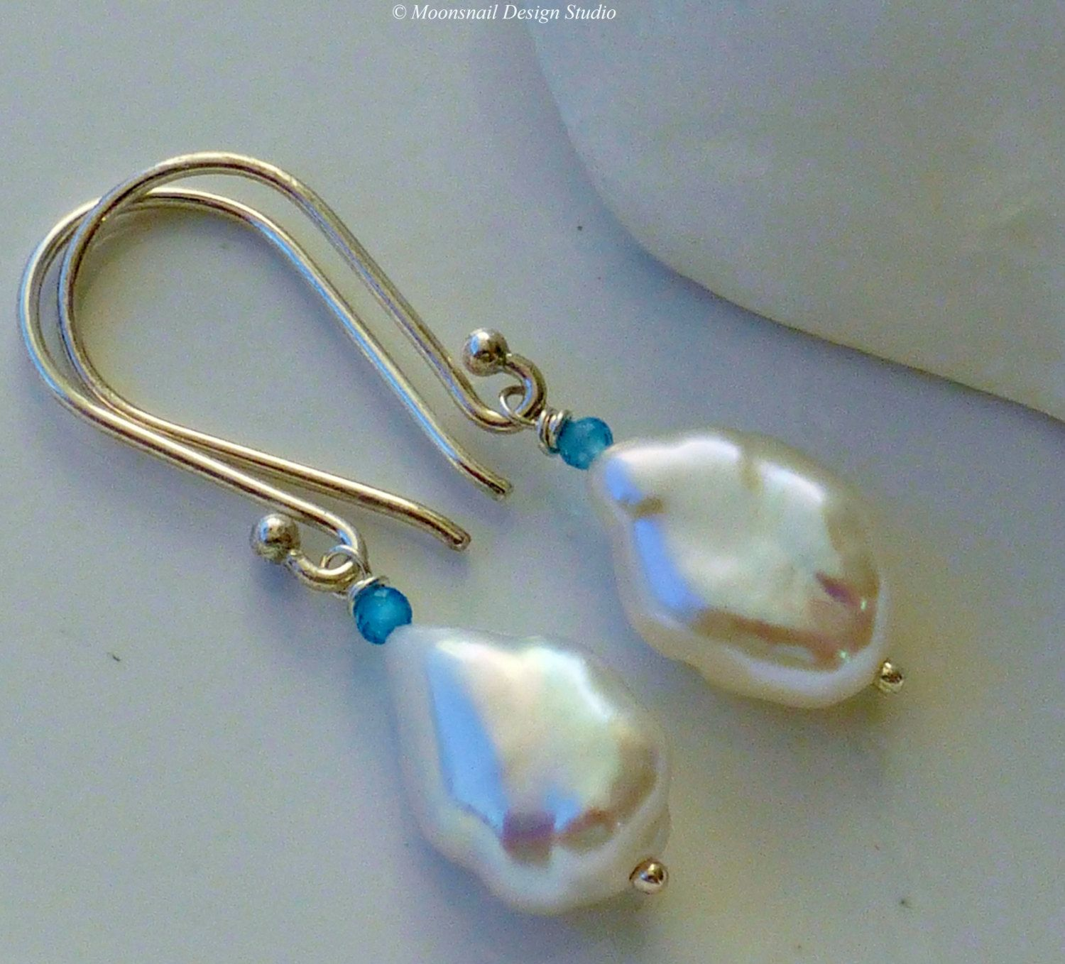 White Keshi Pearl Earrings Peacock Blue Apatite ~ Blue Sky by Moonsnail Design Studio