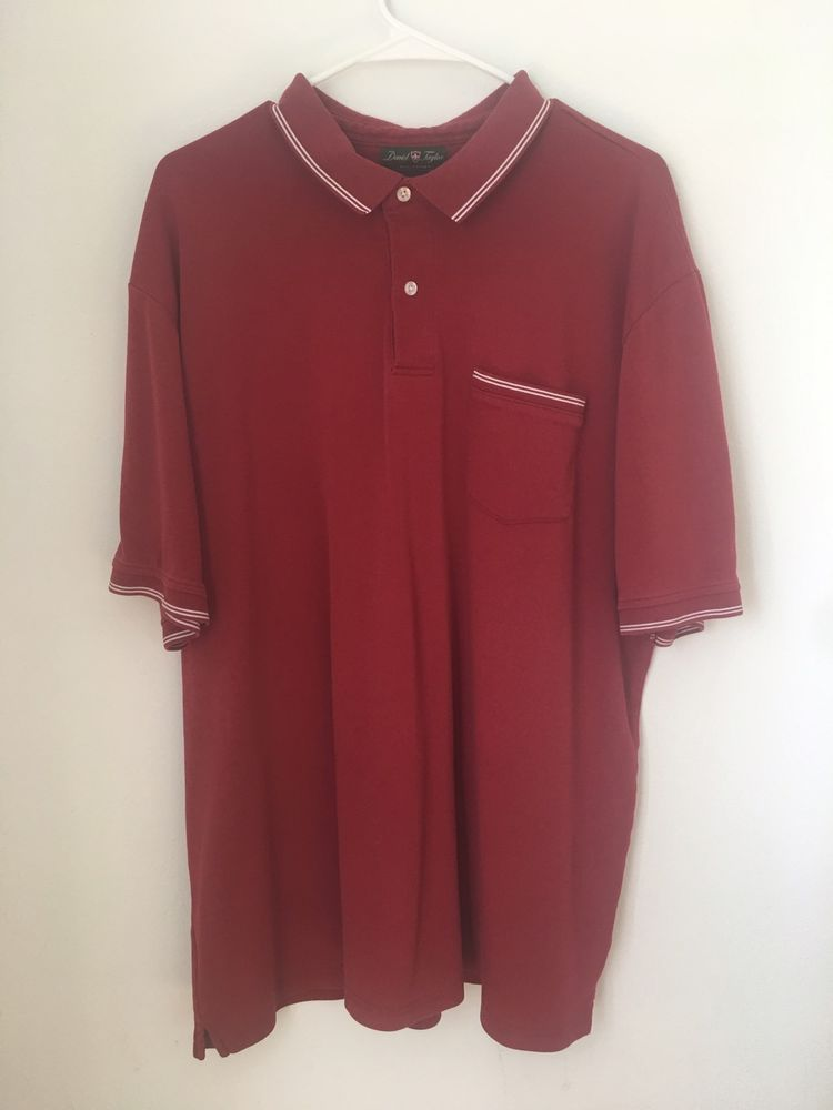 Mens DAVID TAYLOR Collection Red Polo Shirt 2XLT XXL Tall Cotton White Stripe #DavidTaylor #PoloRugby