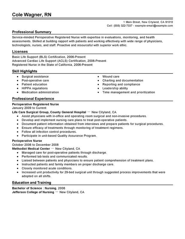 Perioperative Nurse Resume - http\/\/wwwresumecareerinfo - nurse resume objective