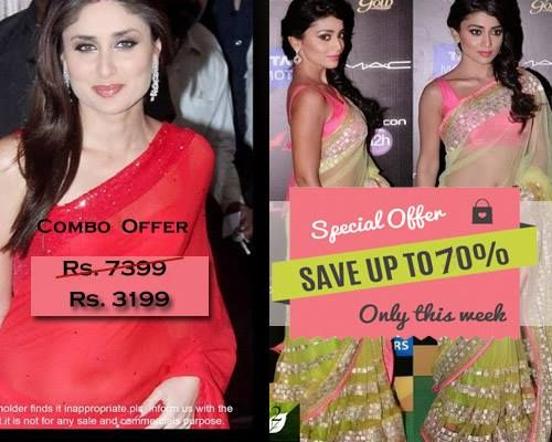 Combo Offer Of Designer Bollywood Embroidered Neon Hot Pink Saree And Crimson Saree