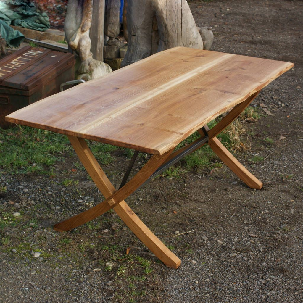 British Made X Leg Oak And Iron Dining Table Dining Table Iron