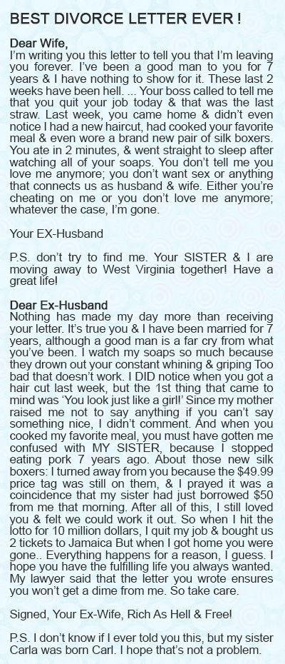 Without a DOUBT – The BEST Divorce letter I have EVER read