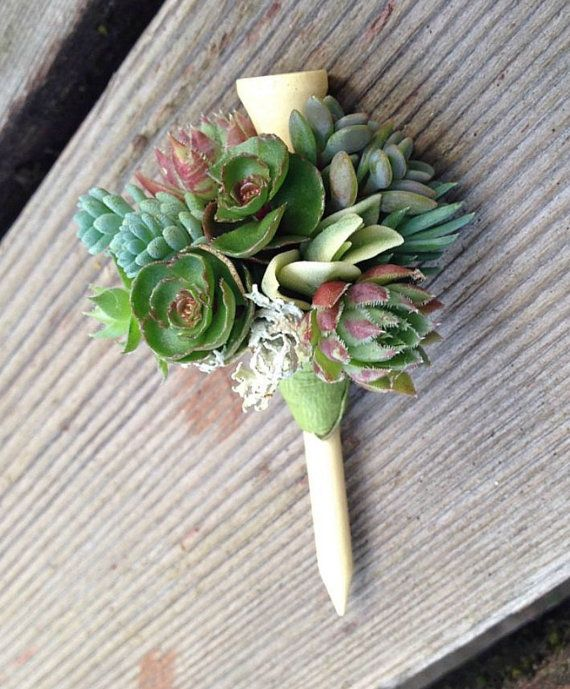 Golf Course Wedding Ideas: Boutonniere- Golf Tee And Succulents On A Golf Tee! How