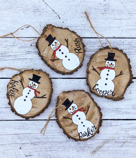 Snowman Christmas Ornament Wood Slice Hand Painted Rustic Tree Ornament Hanging made to order, custo