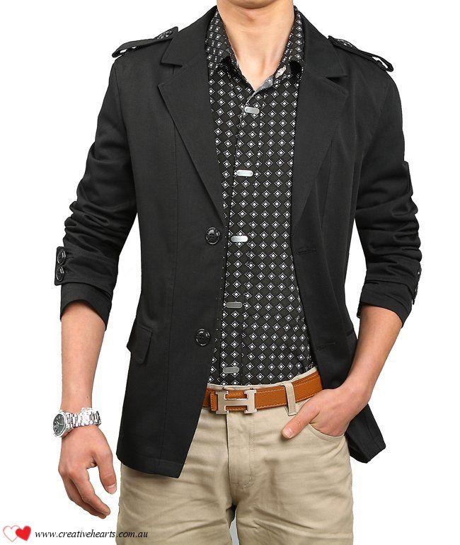 466ebc14759 Very popular mens fashionable jacket blazer in colors black or khaki ...
