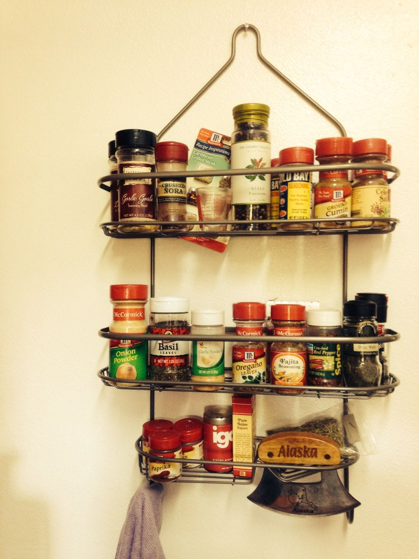 Repurpose a shower caddy as a spice rack holds all sizes and tons of ...