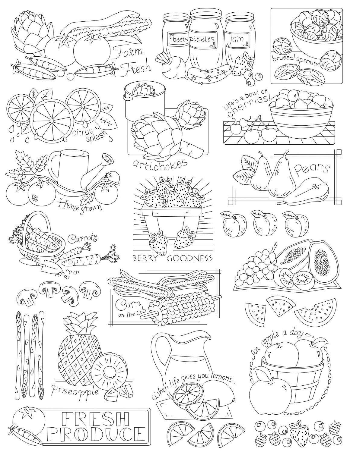 Amazon.com: Aunt Martha\'s Fruits and Veggies Embroidery Transfer ...
