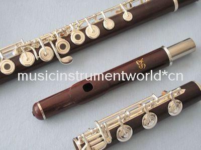 rose wood flute silver plated keys b foot open hole split