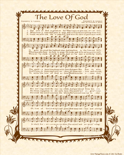 The Love Of God Christian Heritage Hymn Sheet Music Vintage Style Natural Parchment Sepia Brown Ink 8x10 Art Print Hymn Sheet Music Hymn Printable Hymns