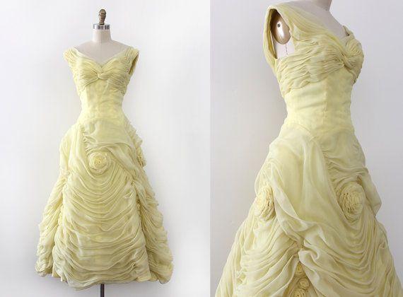 vintage 1960s prom dress // 60s unique 3D floral evening dress ...