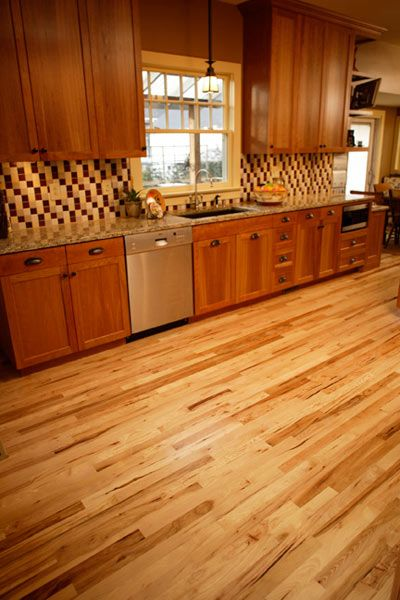 Natural hickory floor contrasts well with cabinets not for Floors to match cherry cabinets
