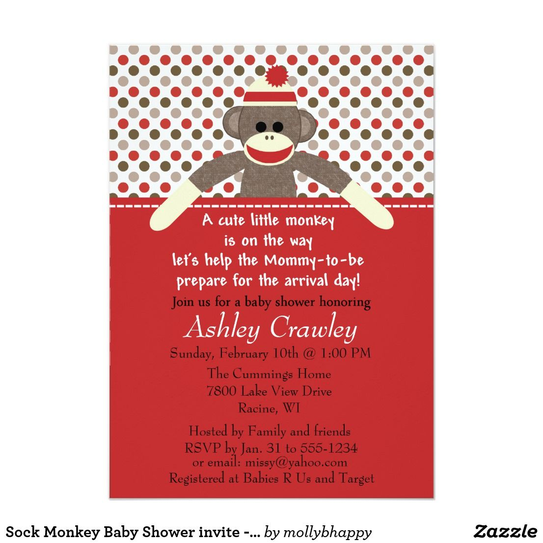 Sock Monkey Baby Shower invite - customize This is a cute baby ...