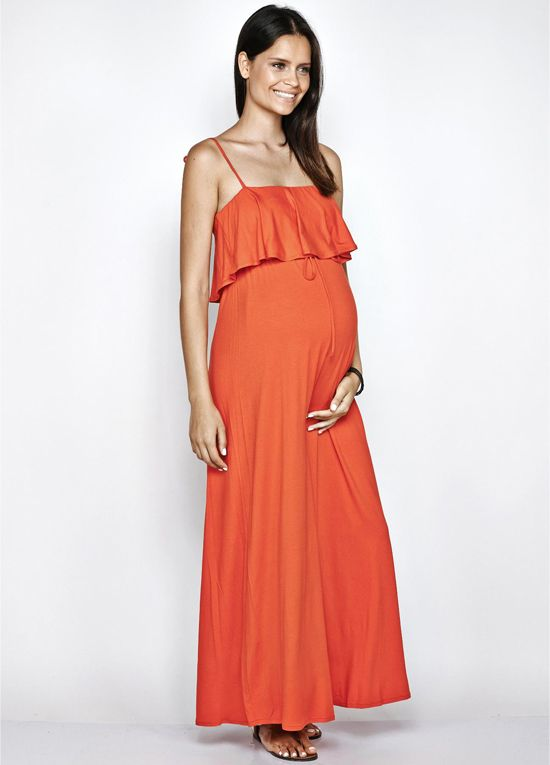 Love the colour, love the deep frill at the bust, shoesting straps and maxi length - pregnant or not! $79.95 #stylishpregnancy #maternitydress #maternityfashion