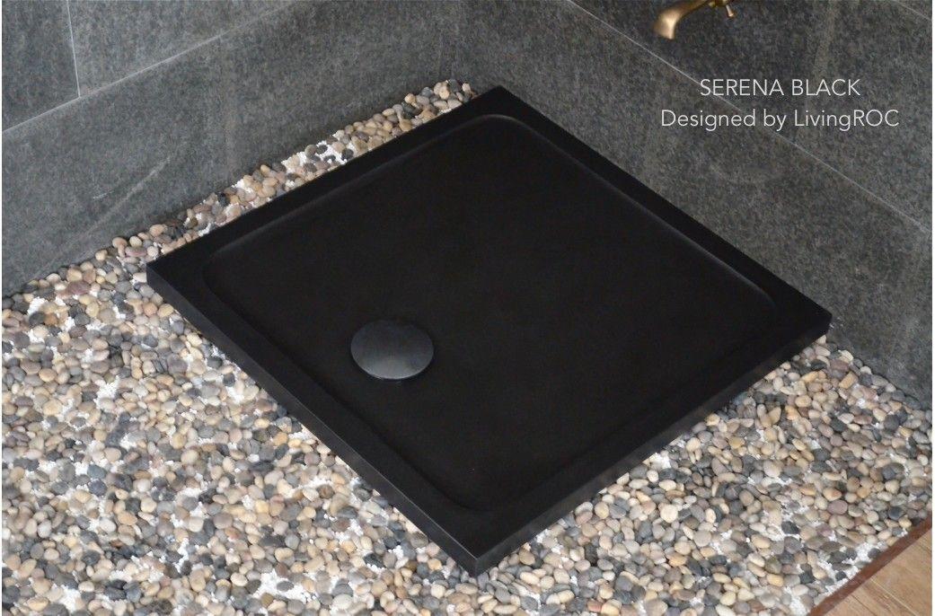 36 X 36 Stone Shower Pan In Black Granite Serena Shadow