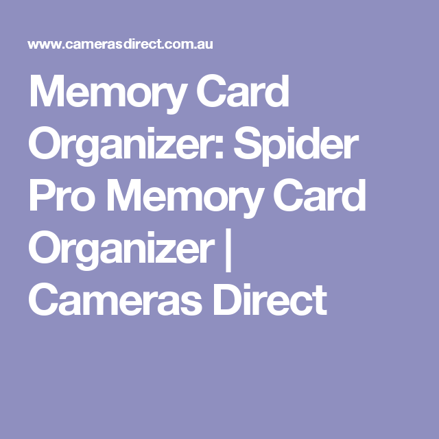 Memory Card Organizer: Spider Pro Memory Card Organizer   Cameras Direct