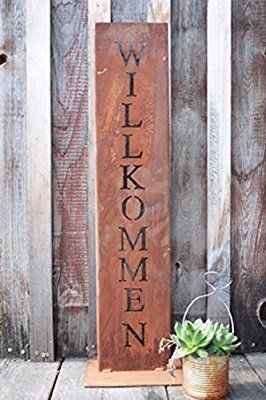 Willkommen Stander Rost Schild Deko Fur Hauseingang In
