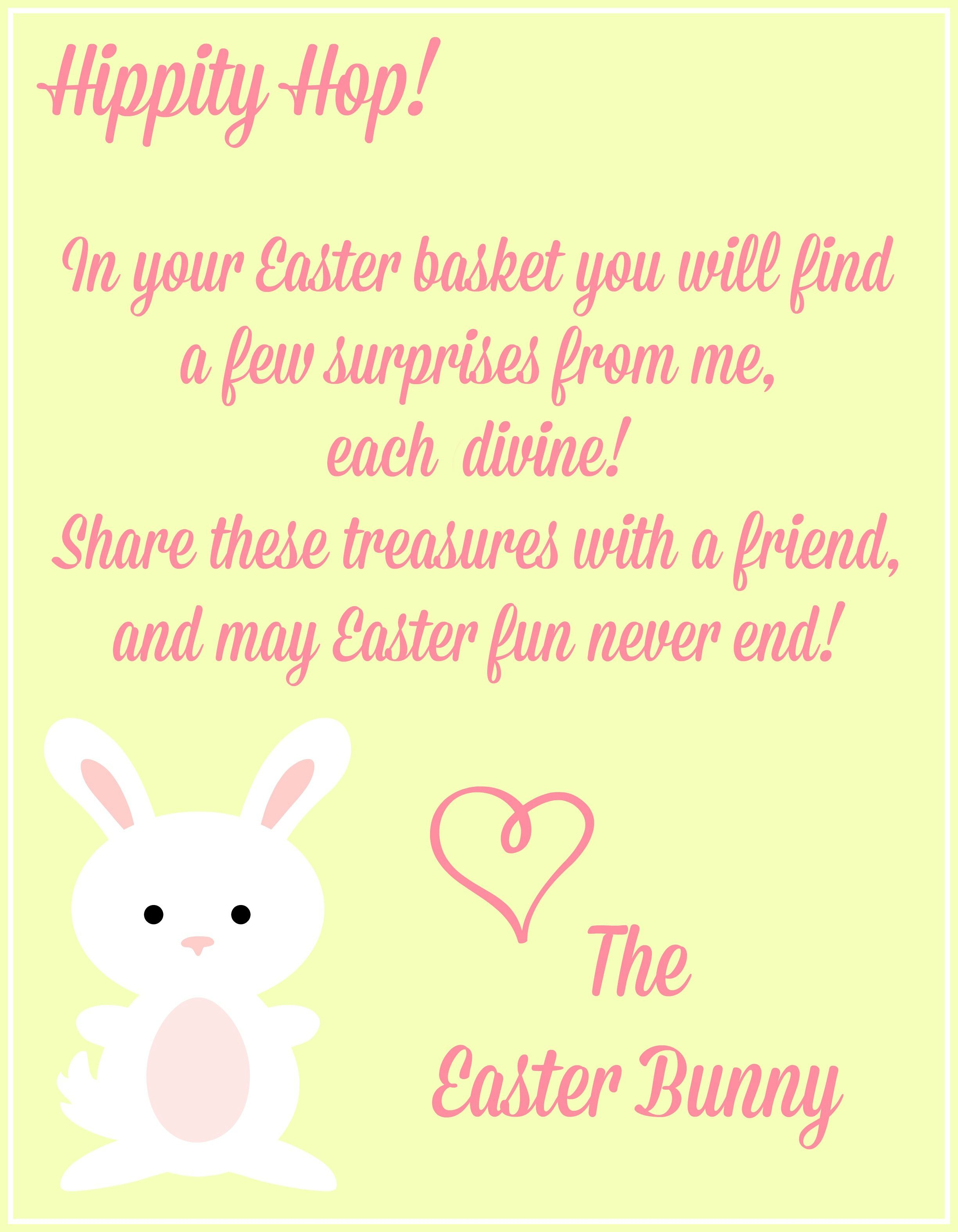 image relating to Letter From Easter Bunny Printable named Cost-free Easter Printables Notes Versus The Easter Bunny