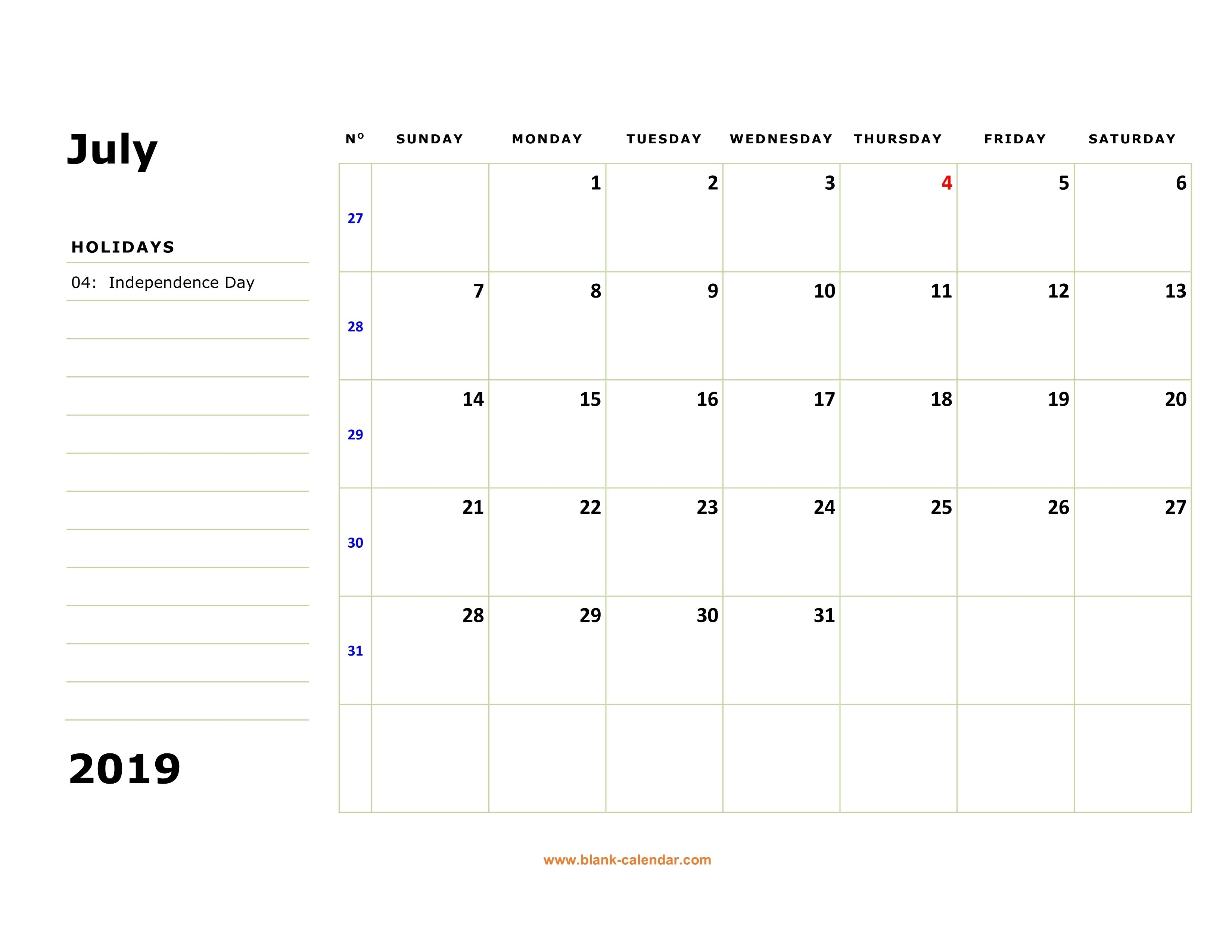 Free Download Printable July 2019 Calendar Large Box Holidays