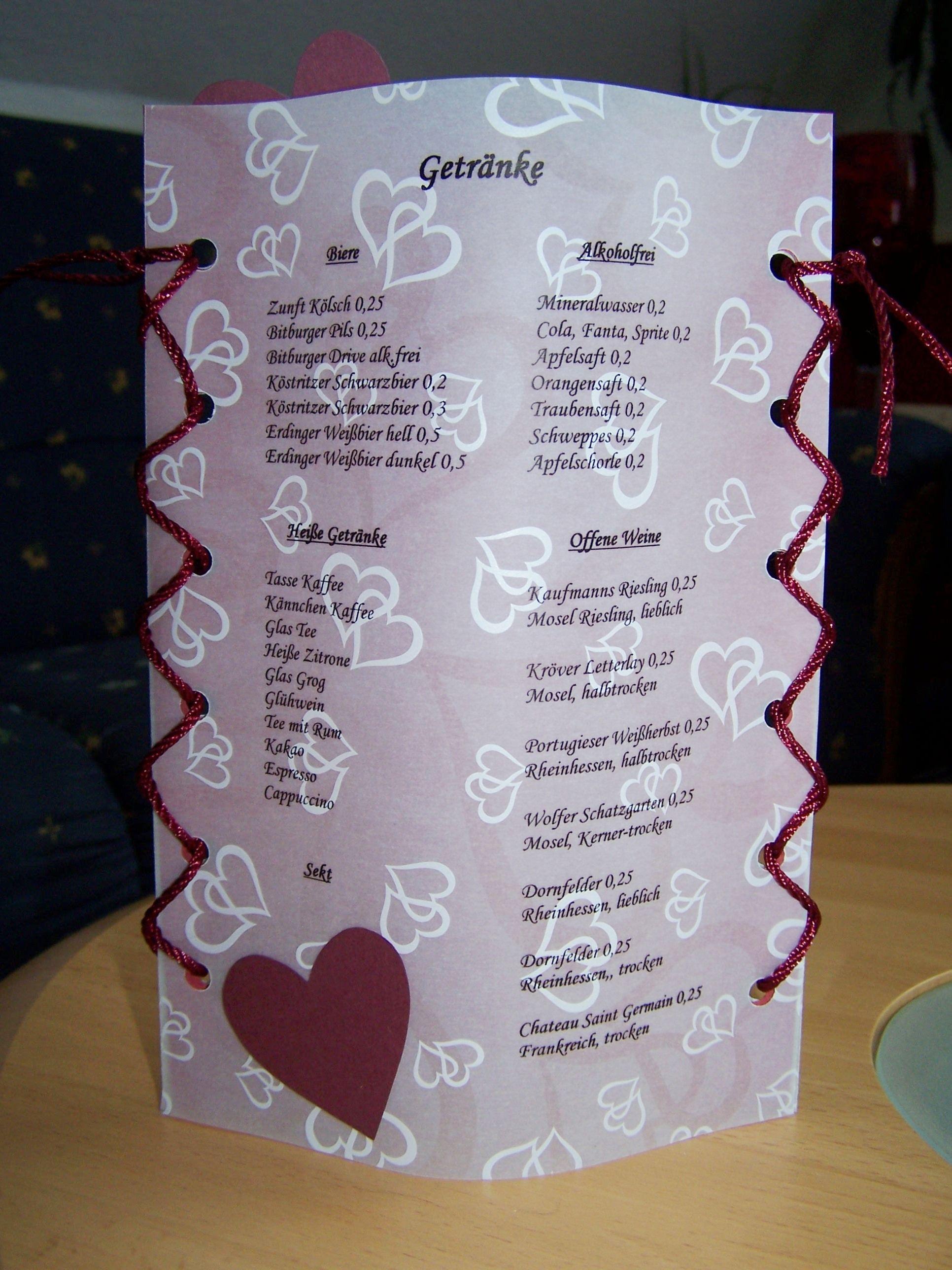 Idee fr Men  und Getrnkekarten zur Hochzeit  creadoo